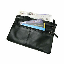 Genuine Soft Small Real Leather Bag Pouch for Money Phone Cards 3 Compartments