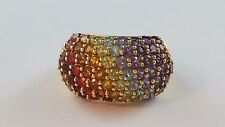 LOVELY Gold Coated Sterling Silver Bubble Dome Ring Rainbow Color Stones Size 9
