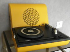 1970s VTG PORTABLE RECORD PLAYER TURNTABLE schneider se 210 Suitcase retro Jaune