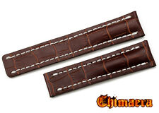 22mm  Brown Croco Grain Genuine Leather Watch Band Strap Bracelet For Breitling