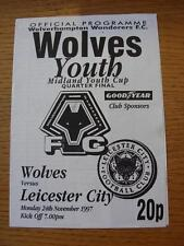 24/11/1997 Wolverhampton Wanderers YOUTH V Leicester City Youth [MIDLAND Gioventù C