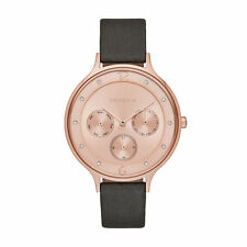 New Skagen SKW2392 Rose Gold Pink Dial With Grey Leather Strap Ladies Watch