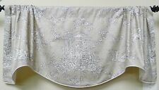 WINDOW VALANCE / LINED, CORDED SCALLOPED VALANCE W/ FRENCH COUNTRY TOILE