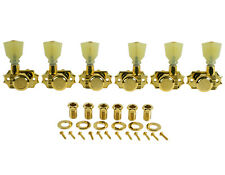 Kluson Revolution Locking Tuners 3x3 Pearloid keystone button - Gold KEDPL-3801G