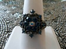 Park Lane Hostess Only RING - Hematite with Blue Swarovski - SZ 10 - Sparkling!!