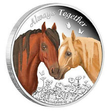 Tuvalu 2017 Always Together Horses Love Company 50 Cents Silver Coin Proof