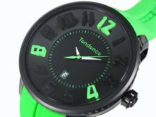 Tendence Gulliver Watch Green Rubber Strap Black Dial Date 52mm 02043024