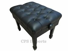 GENUINE LEATHER Ebony Adjustable Artist Concert Piano Bench in High Polish