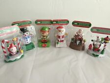 SET OF 6 SOLAR POWERED CHRISTMAS DANCING FRIENDS FROSTY, SANTA, ELF & MORE