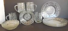 Crystal Glass Princess House Fantasia Set Mug Berry Bowl Dessert Plate 4 Sets