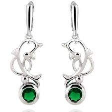 Pretty Dolphin Silver Plated Green Round Cubic Zirconia Dangle Drop Earrings