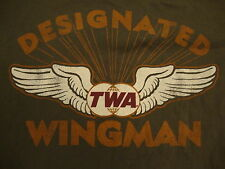 TWA American Airlines Airplane Plane Flight Green Classic Style T Shirt M