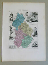 JURA Carte géographique Vuillemin Atlas Migeon LONS-LE-SAULNIER  Delort POLIGNY