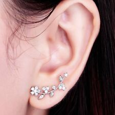 flower 925 sterling silver stud earring Ear Sweep Wrap Flower Crystal Earring