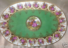 "EBERTHAL BAVARIA GERMANY LOVE STORY 15"" OVAL PLATTER GREEN GOLD TRIM FRAGONARD"