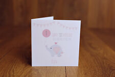Personalised Handmade 1st first birthday card girl daughter grand daughter