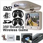 Headphones+BEIGE Overhead Flip Down Car DVD Player Game TV Monitor Roof Mount