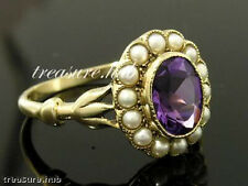 C1043 Genuine 9ct Solid Yellow Gold NATURAL Amethyst & Pearl Cluster Ring size N