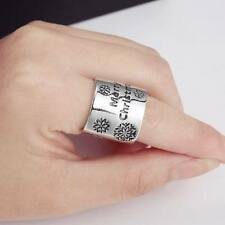 "Silver Tone Alloy Snowflake & ""Merry Christmas"" Large Band Open Ring Xmas Gift"
