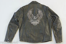 Harley Davidson Men's Billings Studded Eagle Distressed Brown Leather Jacket XL