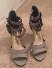 Grey Leather Strappy Heels Size 4 - River Island