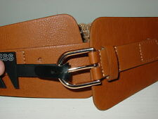 Express brown tan wide front belt woven back copper buckle-L-NWT-$39.