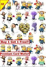62 Minions Despicable Me Birthday Cup Cake Toppers Wafer Card Edible *Stand up
