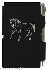 #8992 -- WELLSPRING BLACK HORSE FLIP CASE NOTE PAD WITH PEN -WOW!