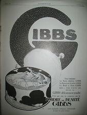 PUBLICITE DE PRESSE GIBBS PRODUIT DE BEAUTé POUDRE FRENCH AD 1925