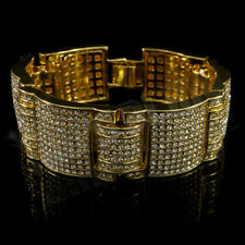 14k Gold Iced Out Simulated Diamond MicroPave Bling HipHop Bracelet 3