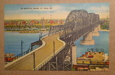 POSTCARD-MUNICIPAL BRIDGE, St. Louis, MO. 1 cent stamp FOR DEFENSE Used