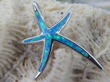 SLEEK STERLING SILVER STARFISH SLIDE WITH BLUE OPAL
