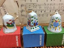 Vintage LILLIAN VERNON 1988 Porcelain CHRISTMAS Bells Ornaments Set Of 3