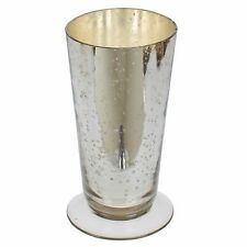 "160604 6"" Mercury Glass Short Silver Flower Vase"