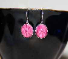 Vintage opaque ruby pink star sapphire glass silver bridesmaid artisan earrings
