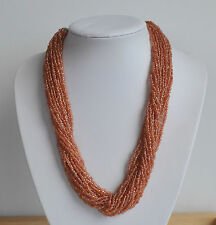 VINTAGE handmade tribal copper tone aventurin glass seed multistrand NECKLACE