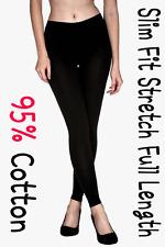 Women Cotton Slim Fit Stretch Full Length Leggings Regular Small BK