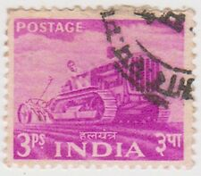 Stamp(I176) 1955 INDIA 3p mauve tractor ow354
