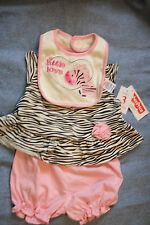Fisher Price Pink Zebra 3 Piece Set Pink Bloomers, Zebra Top, & Bib  NWT 6-9M