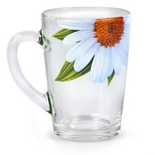 Heat Resistant SET OF 6 Thick Glass Tea Drink Mugs Cups Daisies pattern 10 fl oz