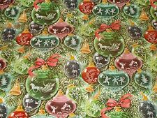 VTG 1960's CHRISTMAS DEPT. STORE WRAPPING PAPER 2 YARDS GIFT WRAP ORNAMENTS