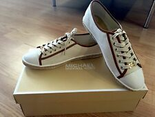 MICHAEL KORS Women Kristy White Canvas Leather Sneakers  8 SOLD OUT NEW