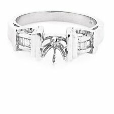 14K WHITE GOLD SEMI MOUNT BAGUETTE DIAMOND ENGAGEMENT RING SETTING ~ FREE S&H