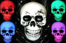 Colour Changing Light Up SKULL Battery Operated NEW Halloween Party Decoration