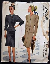 Vintage Original McCall 40's Two Piece Suit Dress Pattern No. 6209