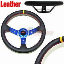 JDM DEEP DISH Style LEATHER 6 Bolt 3 Spoke Racing Steering Wheel RED Stitch BLUE