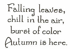 Falling Leaves Autumn Is Here Wood Mounted Rubber Stamp NORTHWOODS CC8729 New