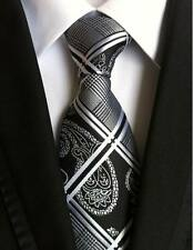 New Classic 100% Silk Men's Tie Geometric Black White JACQUARD WOVEN Necktie
