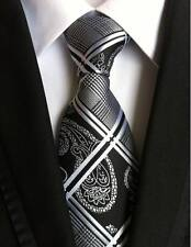 New Classic Geometric Black White JACQUARD WOVEN 100% Silk Men's Tie Necktie
