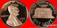 1987 S Lincoln Cent Deep Cameo Gem Proof No Reserve